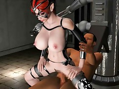 Restrained busty 3D hentai hottie getting mouth fucked and pussy pounded