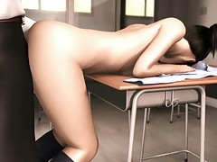 Sexy Japanese 3D coed taking stiff cock in a classroom