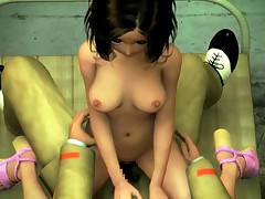 Adorable 3D toon girl stripped naked and banged by a military man
