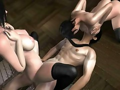 Two busty 3D hentai succubi in black stockings service one man